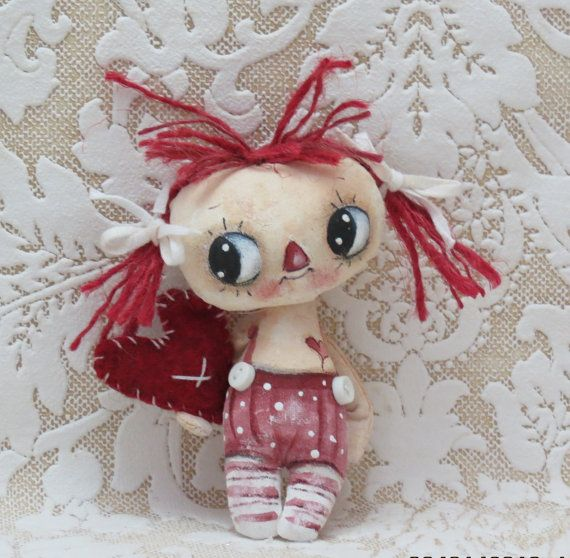 Teeny hand painted raggedy Anne cloth doll by suziehayward on Etsy