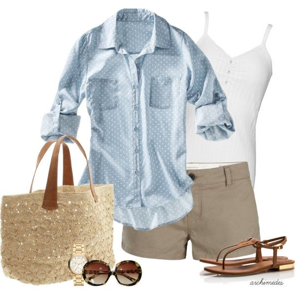 breezy summer outfit with khaki Bermudas
