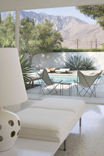 the whole damn picture is amaazing. Open to back yard and view, white terrazzo floors