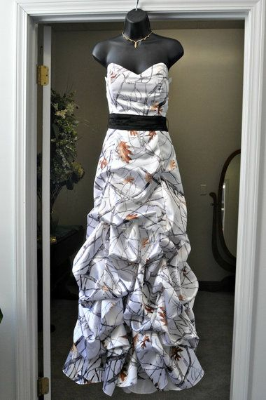 white camo formal dress ... from Miller Bridal and Sewing