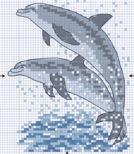 Free dolphins cross stitch - Could use to draw/paint (grids)