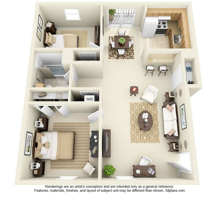 Bungalow 3d Floor Plan: Two Bedroom Apartment Floor Plans