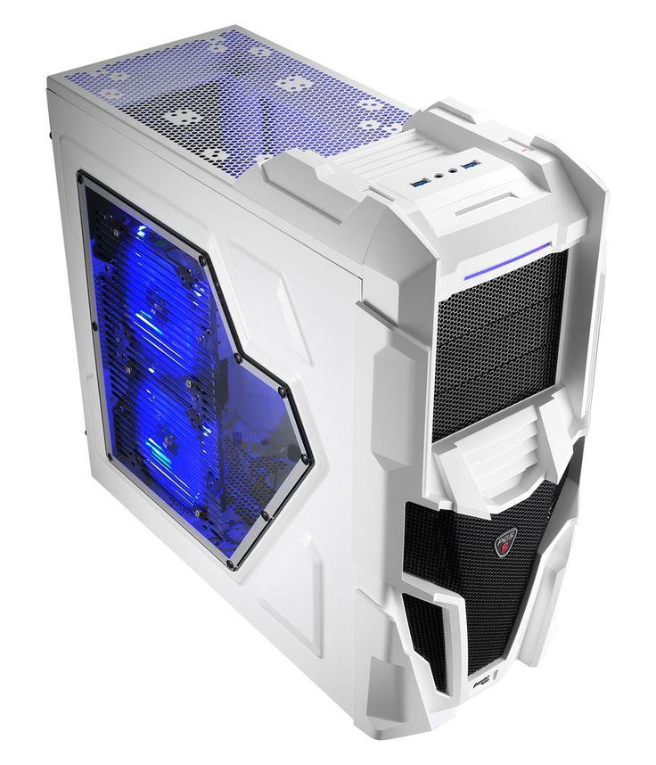 Mechatron White Gaming Case Side Window 20CM Blue LED Fan - Computer Products Online Ltd