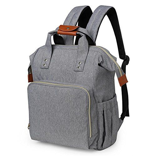 Diaper Bag Backpack, HoHope Baby Diaper Bags Wide Open Designer with Insulated Pockets Stroller Straps and Changing Pad, Stylish and Durable, Grey - √√ How to Find a Perfect Diaper Bag for Outdoor Companion?A Reliable Handsfree Fashion Diaper Backpack for Dad & Mom On-The-GoStylish & UnisexThis HoHope bag doesn't look like a typical nappy changing bag, would be use as a diaper bag for parents, or just a fashional backpack, a han...