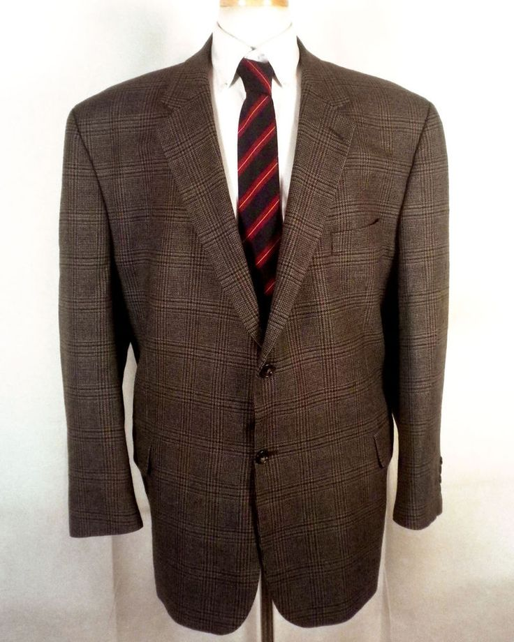 euc Black Diamond Collection brown Plaid Lambswool Tweed Blazer Sportcoat 54 R #BlackDiamondCollectionforDeans #TwoButton