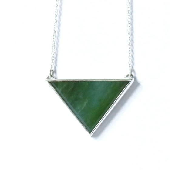 Triangle Pendant Rua New Zealand Pounamu Greenstone + Sterling Silver Contemporary jewellery