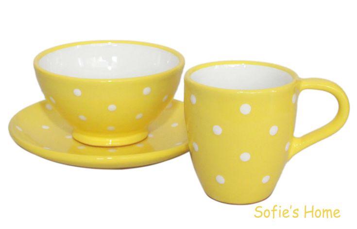 Geschirr- & Porzellan-Sets -  Handmade Teller Schale Becher Punkte Keramik Gelb - ein Designerstück von SofiesHome bei DaWanda