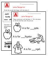 Lots of different kinds of alphabet worksheets, letter recognition, tracing, etc.