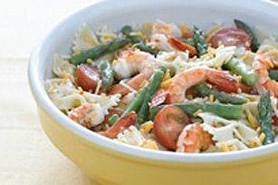 Salade de pâtes et de crevettes au citron - Le secret d'un goût de citron intense est dans le zeste !