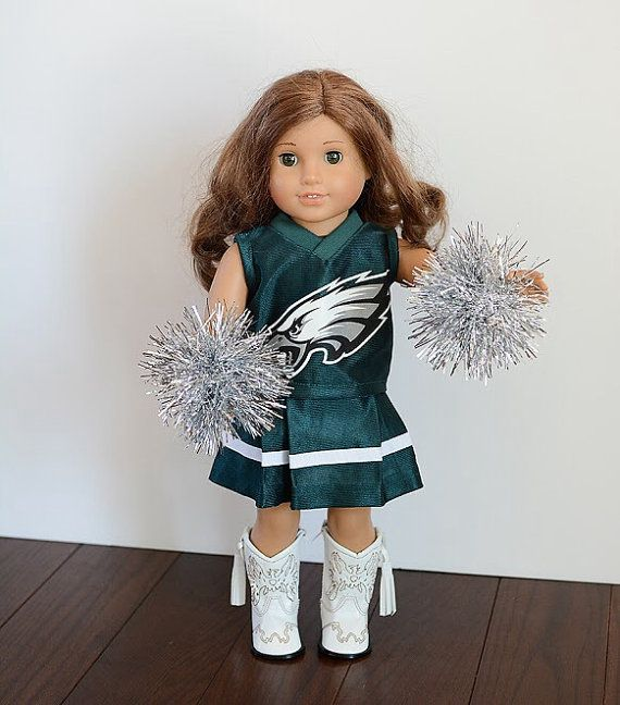 American Girl Doll NFL Eagles cheerleader outfit with pom poms