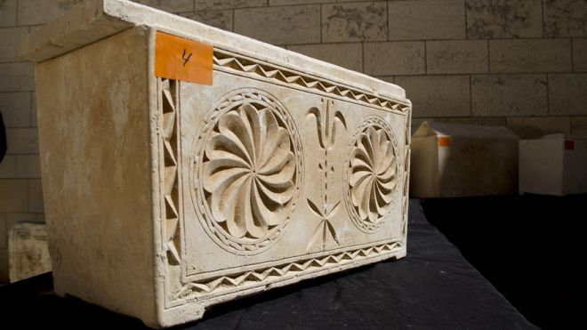 These 11 boxes, or ossuaries, are believed to originate from the Second Temple Period.