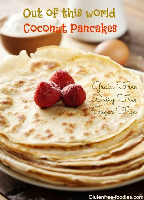 I just made thesecoconut flour pancakes.I totally put the recipe together as I went along: a little of this, a dash of that...and you know what?