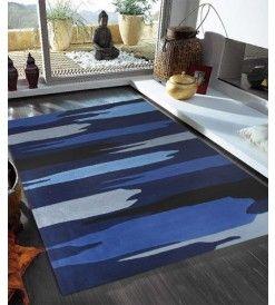 Stunning Modern Blue Black  Rug