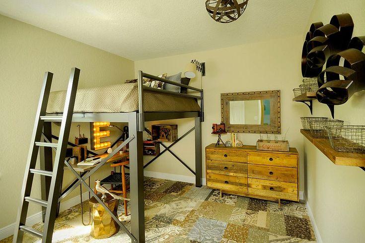 Camera per bambini stile industriale con pavimento in diverse piastrelle