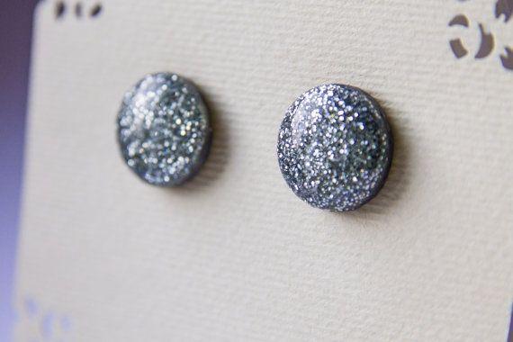 Silver glitter studs glitter studs sparkle studs  от JewelryBest