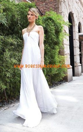 Nicole Miller robe de mariée simple pas cher mousseline Style FV0006
