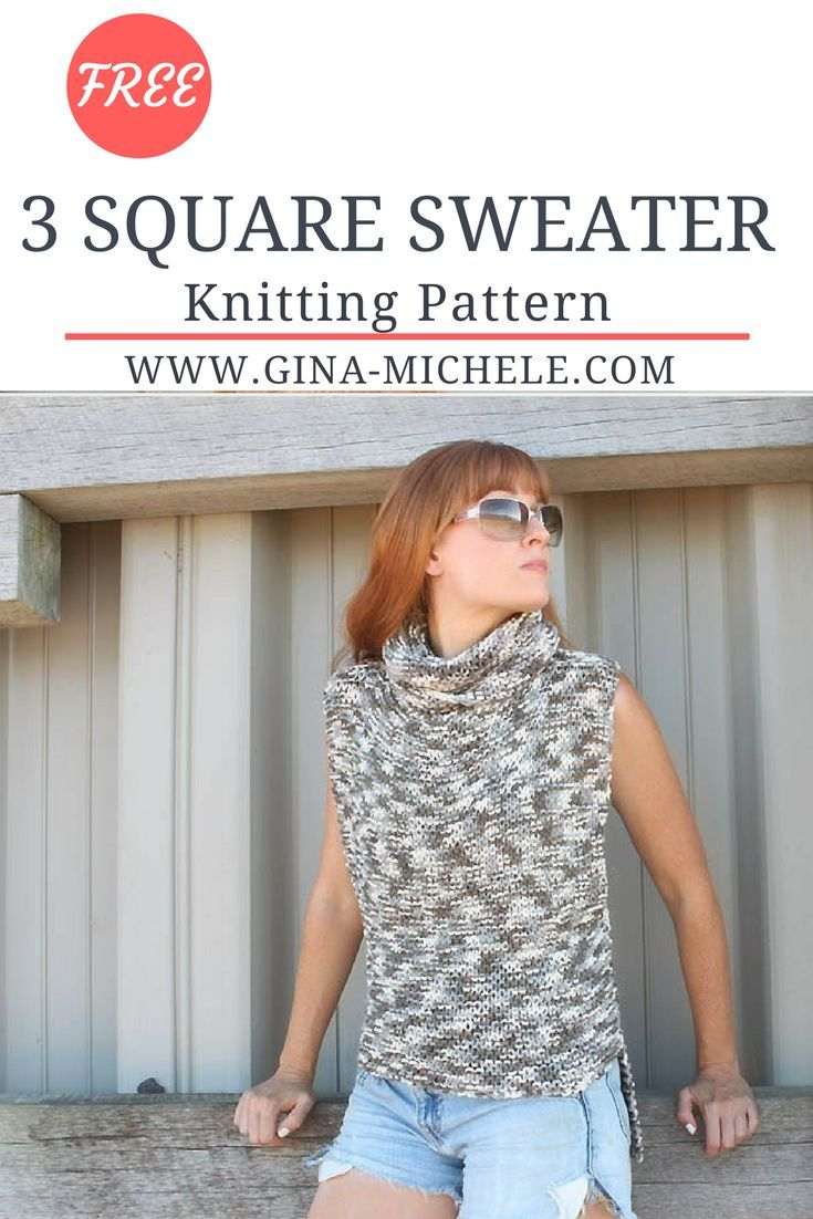 148bedad8625 FREE knitting pattern for this super-easy 3 Square Sweater. Perfect for  beginners!  knitting  knit  knittingpattern