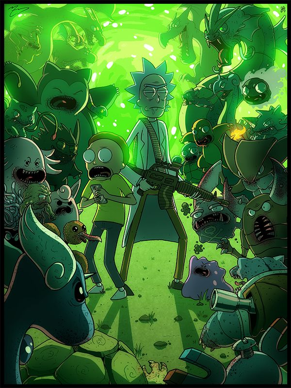 COLLAB PRINT - Rick and Morty Meet Some Pokemon by JoeHoganArt