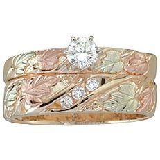 16 ct tw diamond black hills womens wedding set in 10k gold