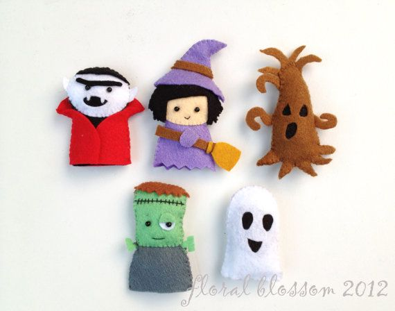 Digital Pattern: Halloween Friends 02 Felt Finger von FloralBlossom