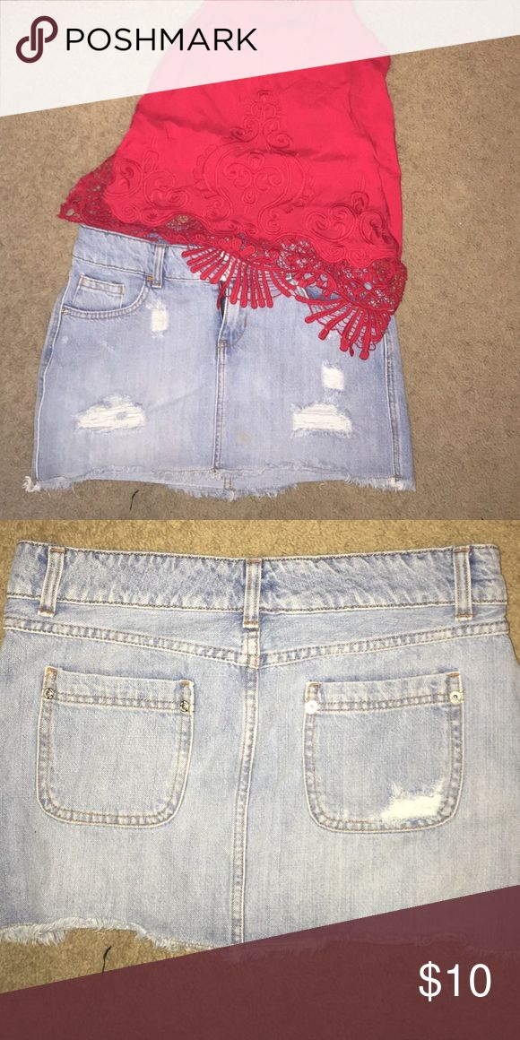 Distressed skirt Light denim distressed jean skirt Mossimo Supply Co Skirts Mini