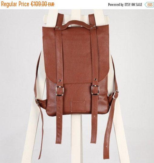 SALE / Chestnut Brown leather backpack rucksack / In stock / genuine leather minimalist backpackrucksackkokosinasimple backpackknapsackback to school leather rucksack women woman girls gift