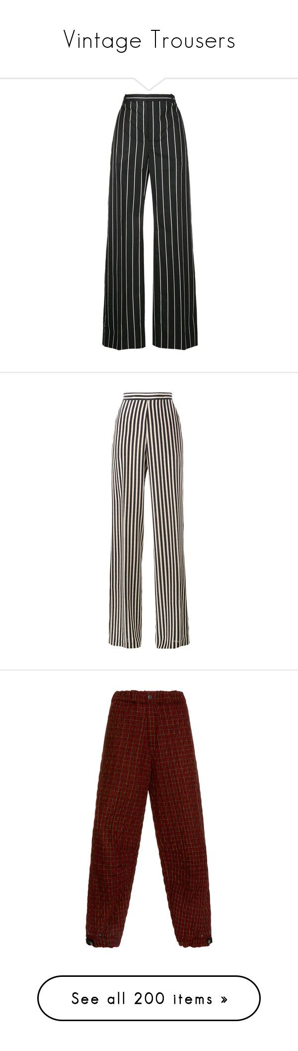 """""""Vintage Trousers"""" by mickjaggerismydrug ❤ liked on Polyvore featuring pants, trousers, bottoms, balenciaga, jeans, black, striped wide leg pants, cotton pants, wide leg cotton pants and wide leg trousers"""