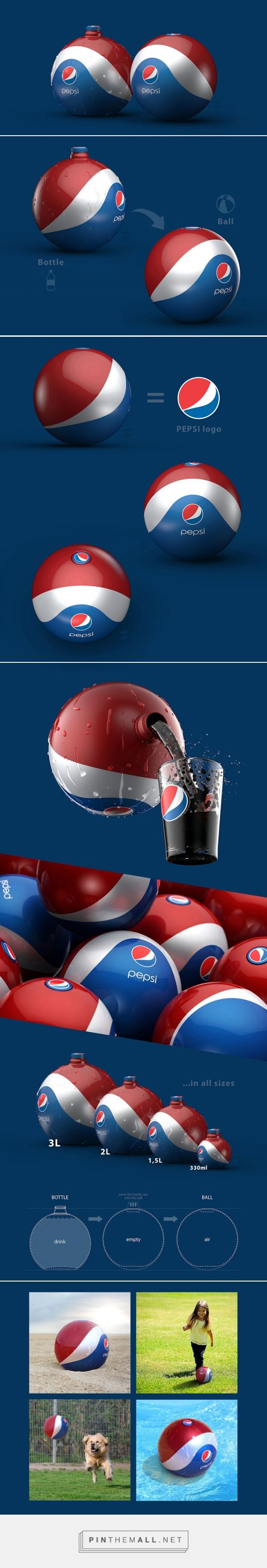 Pepsi Rubber Ball / Bottle Packaging Design Concept by Tomislav Zvonaric (Croatia) - http://www.packagingoftheworld.com/2016/04/pepsi-rubber-ball-bottle-concept.html - created via https://pinthemall.net
