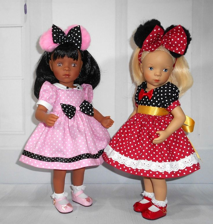 """Fits Sylvia Natterer petitcollin Minouche 13"""" doll. Handmade minnie mouse dress & pom pom alice band. all my dresses/ outfits are made by me in a clean, smoke & animal free sewing room. All my dresses are designed by me and not a copy's of some other person's work. 