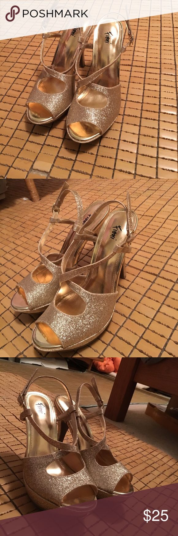 Sparkling Gold Heels Only worn once, for prom! These are perfect prom shoes, size 6 and the heels are 4 inches FIONI Clothing Shoes Heels