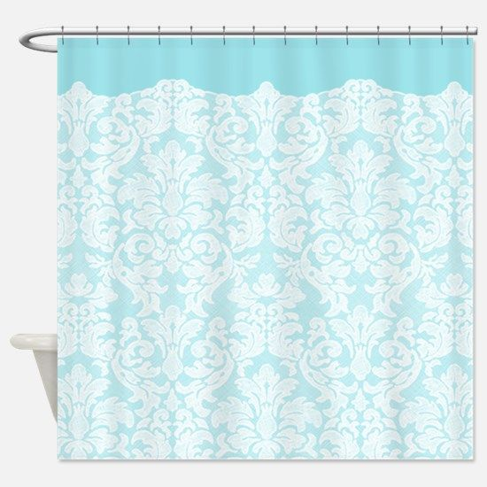 lace pattern - white blue Shower Curtain for