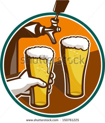 Illustration of two glass full pint of beer with hand holding and tap in background set inside circle. - stock vector #beer #retro #illustration