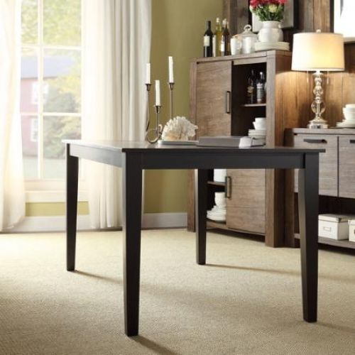 Dining Table Large Black Solid Rubber Wood Construction Contemporary Style