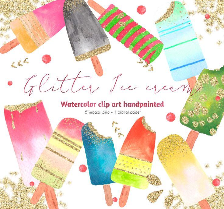 Clipart de helados con purpurina pintados a mano, 15 imágenes .png y 1 papel digital de regalo, clipart, helados, verano, purpurina de PetitePrune en Etsy https://www.etsy.com/es/listing/458166256/clipart-de-helados-con-purpurina