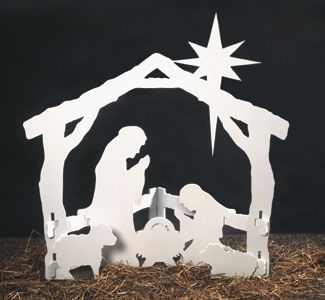 Small Silent Night Wood Pattern Half the beauty of this popular, self-standing Nativity display is in the simplicity of its design--all six pieces simply slide together then easily come apart for convenient flat storage. #diy #woodcraftpatterns