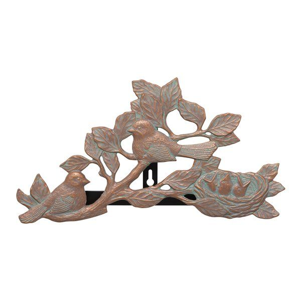 Keep up to 100 feet of garden hose from tangling with this wall-mounted holder, featuring a chickadee design and copper verdigris finish.