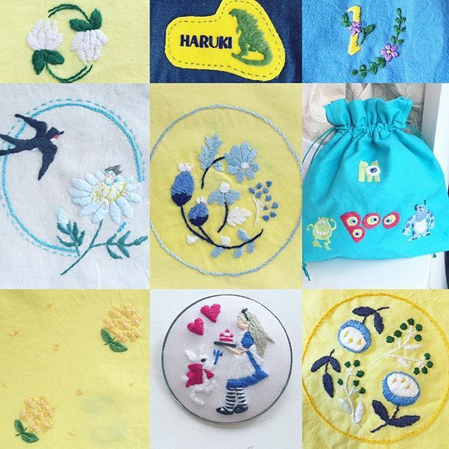 西荻窪の刺繍教室『アンナとラパン』参加者さんの作品。 ディズニーファンの連載の最初の頃の刺繍、モンスターズインクの巾着!アレンジがかわいいです☆…