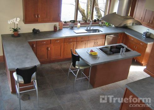 2 thick concrete kitchen countertop and concrete center island