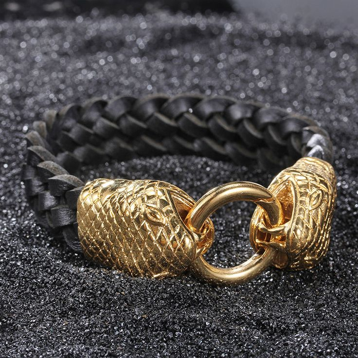 Punk Male Jewelry Leather Gold Stainless Steel Snake Classic Mens Bracelets
