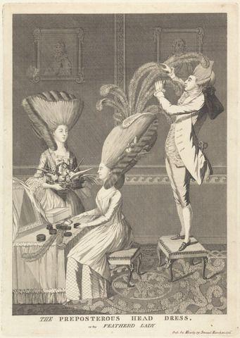 The Preposterous Head Dress, or the Feathered Lady, 1776. Yale Center for British Art, B1977.14.10990