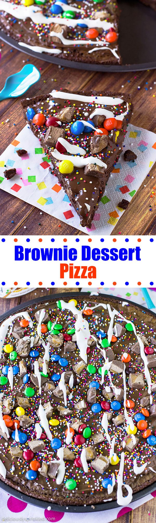 Brownie Dessert Pizza-an easy to make brownie dessert pizza topped with Nutella, candies, and SPRINKLES!