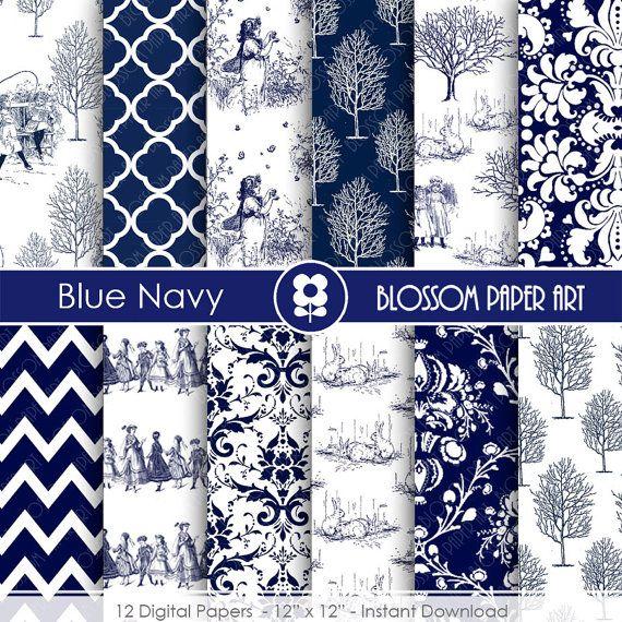 Digital Paper Blue Navy Toile Digital Paper, Vintage Scrapbooking Paper, Vintage…