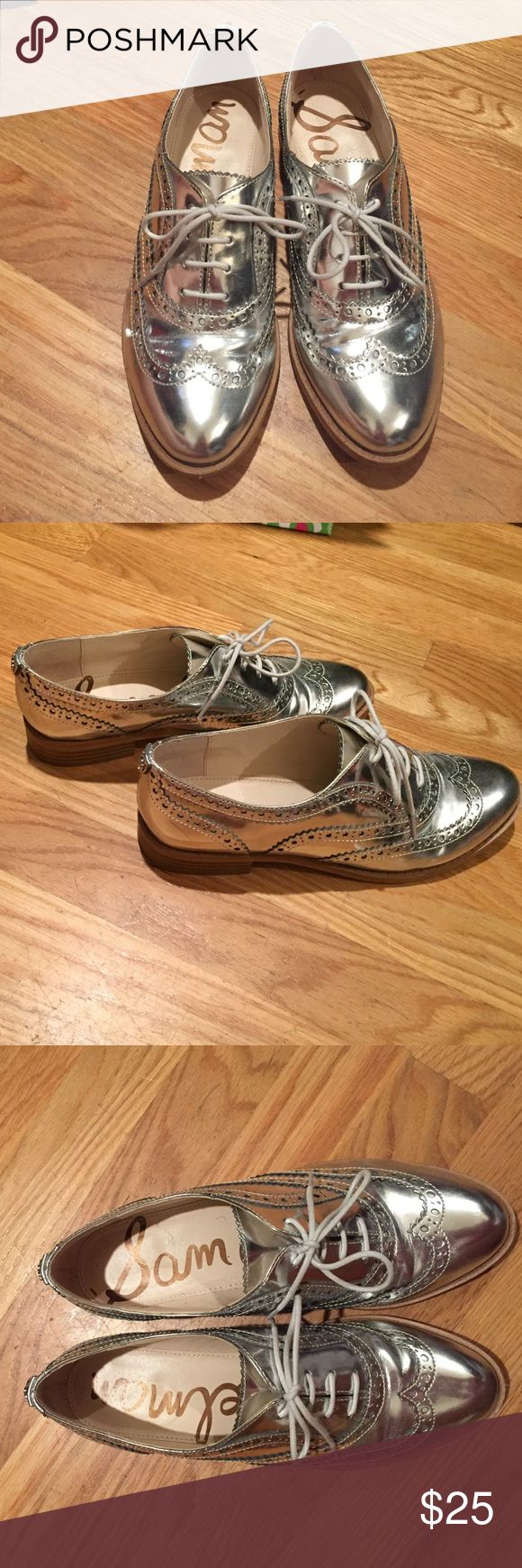 Sam Edelman silver Oxford shoes Worn only a few times, like new silver Oxfords from Sam Edelman Sam Edelman Shoes Flats & Loafers