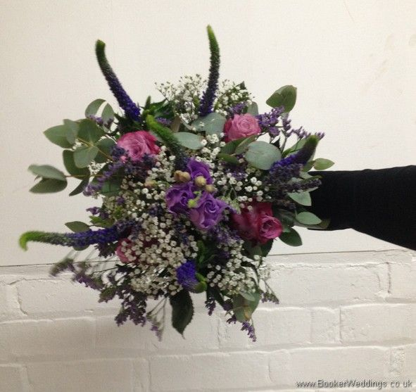 http://bookerweddings.co.uk - Just Picked Country Flowers in purples and lilacs with grey foliage with roses, lissianthus, veronica, gypsy grass and eucalyptus Bridesmaid Bouquet.jpg