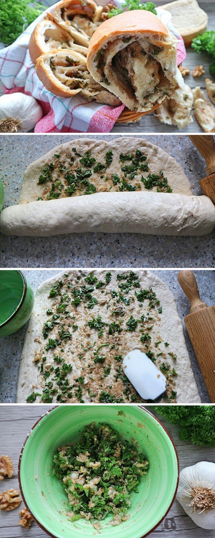 Walnuss-Knoblauch-Brot – einfaches herzhaftes Rezept