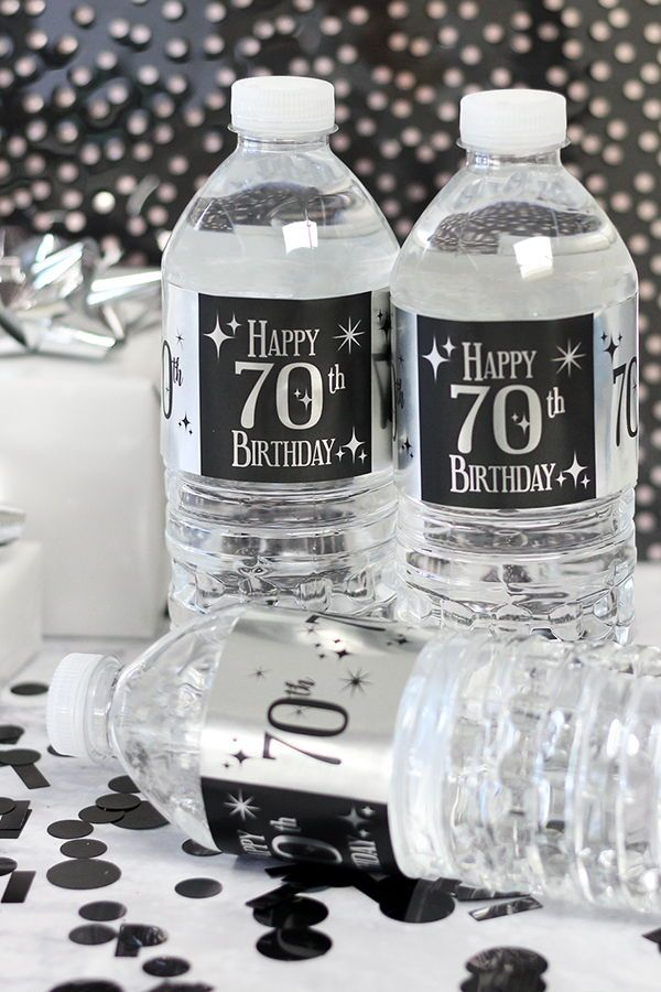 Black And Silver 70th Birthday Metallic Foil Water Bottle Labels Wrap These Shiny Stickers Around Bottles Make The Perfect Happy