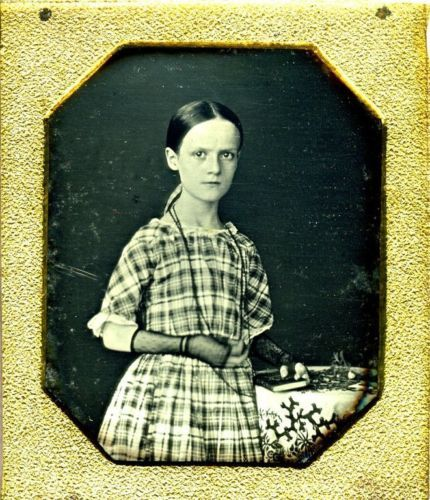 A-Slender-Girl-Stands-for-Her-Portrait-Daguerreotype-Sixth-Plate