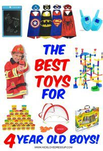 What are the best toys for 4 year old boys? Best gifts for 4 year old boys or 4 year old girls, for that matter? Check out these 10 toys that will be WELL LOVED and more at www.kidslovedressup.com!
