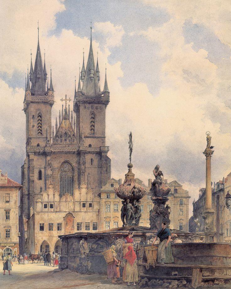 The Tyn Church in Prague by Rudolf von Alt, 1843