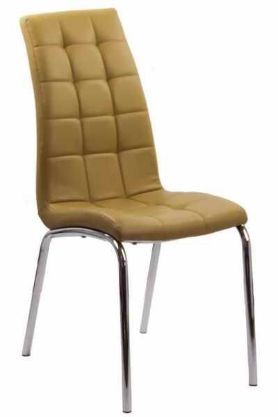 Camel dining chair.  This modern dining chair is covered in a soft  leather-look PU with a chequered stitching pattern on the back and seat, finished with a chrome plated frame that is strong and sturdy. For more photos and details, visit us on http://www.scauneonline.ro/scaune-de-bucatarie-buc-231